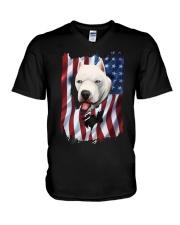 American Flag dogo argentino V-Neck T-Shirt thumbnail