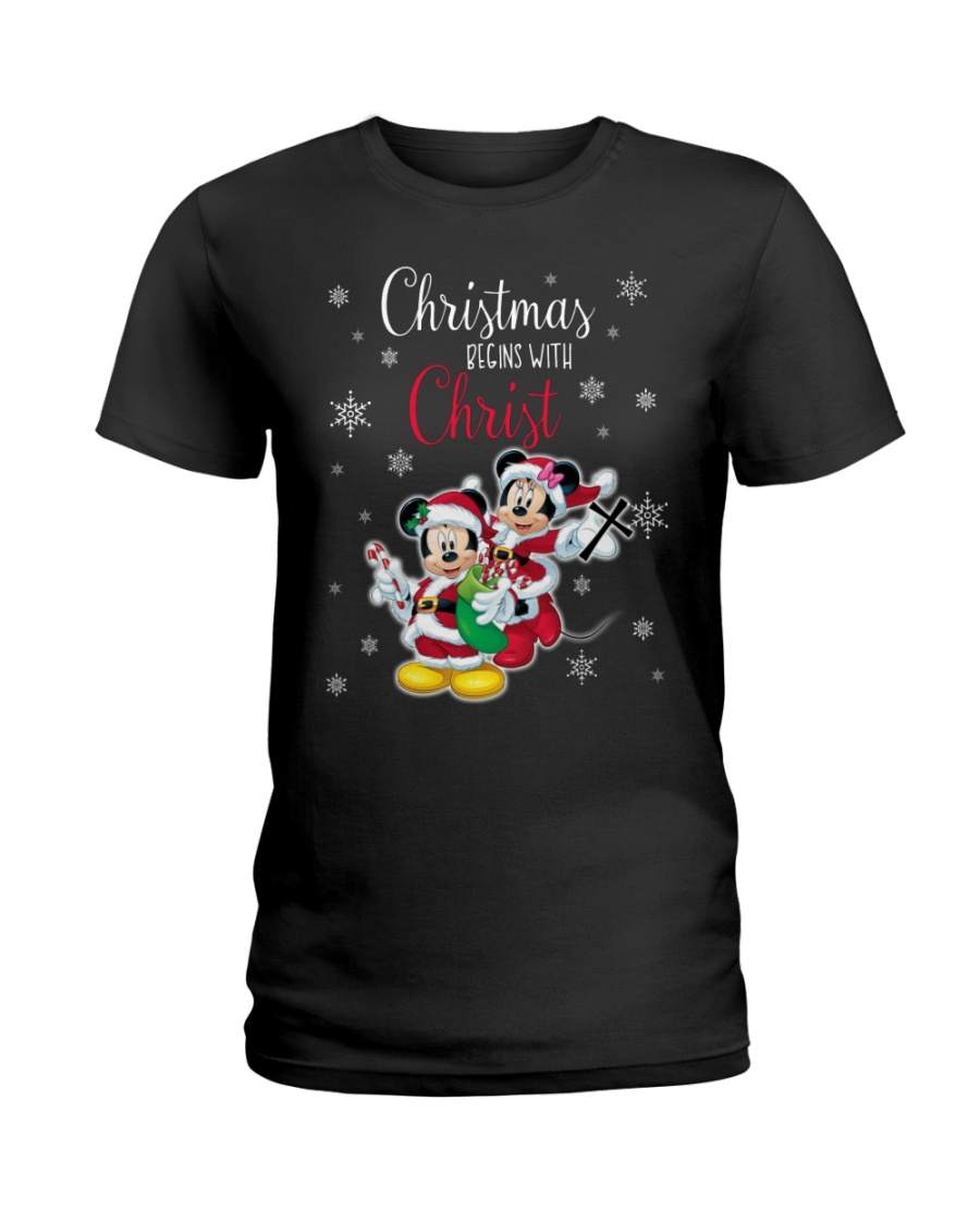 Christmas Begins With Christ Mickey Ladies T-Shirt