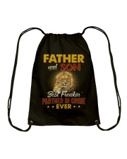 Lion Father Son Best Freakin' Partner In Crime  Drawstring Bag thumbnail