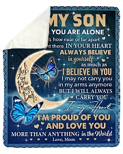 "Never Feel That U Are Alone Mom To Son Sherpa Fleece Blanket - 50"" x 60"" thumbnail"
