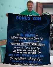 "To My Bonus Son Sherpa Fleece Blanket - 50"" x 60"" aos-sherpa-fleece-blanket-50x60-lifestyle-front-05"