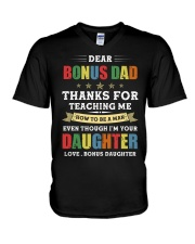 Bonus Dad Thanks for teaching me how to be a man V-Neck T-Shirt thumbnail