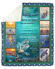 """Never Forget That I Love U-Turtle- Mom To Son Sherpa Fleece Blanket - 50"""" x 60"""" thumbnail"""