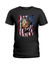 American Flag Tibetan mastiff Ladies T-Shirt thumbnail