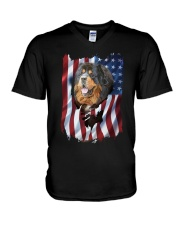 American Flag Tibetan mastiff V-Neck T-Shirt tile