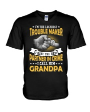 luckiest trouble maker V-Neck T-Shirt thumbnail