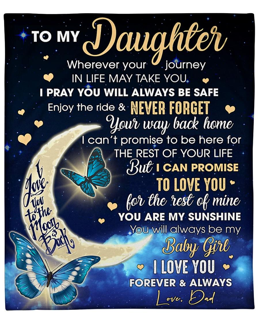 "Daughter Half Moon Promise To Love U For The Rest Fleece Blanket - 50"" x 60"""