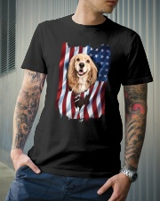 American Flag Cocker spaniel Classic T-Shirt lifestyle-mens-crewneck-front-6