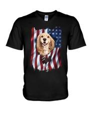 American Flag Cocker spaniel V-Neck T-Shirt thumbnail