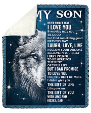 """Never Forget That I Love U Wolf Dad To Son Sherpa Fleece Blanket - 50"""" x 60"""" thumbnail"""