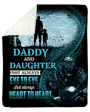 Not Eye To Eye But Heart To Heart Dad To Daughter Sherpa Fleece Blanket tile
