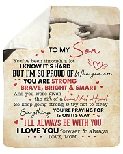 You Are Strong Brave Bright Smart Mom To Son Sherpa Fleece Blanket tile
