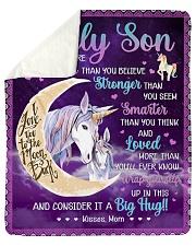 U Are Braver Than U Believe Unicorn Mom To Son Sherpa Fleece Blanket tile