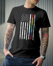 Gay Pride Rainbow American Flag Classic T-Shirt lifestyle-mens-crewneck-front-6