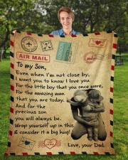 """Even When I'm Not Close By Dad To Son Fleece Blanket - 50"""" x 60"""" aos-coral-fleece-blanket-50x60-lifestyle-front-01a"""