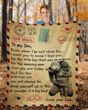 """Even When I'm Not Close By Dad To Son Fleece Blanket - 50"""" x 60"""" aos-coral-fleece-blanket-50x60-lifestyle-front-01b"""