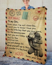 """Even When I'm Not Close By Dad To Son Fleece Blanket - 50"""" x 60"""" aos-coral-fleece-blanket-50x60-lifestyle-front-02"""
