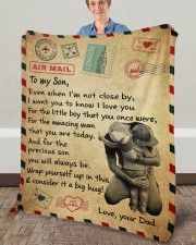 """Even When I'm Not Close By Dad To Son Fleece Blanket - 50"""" x 60"""" aos-coral-fleece-blanket-50x60-lifestyle-front-02a"""