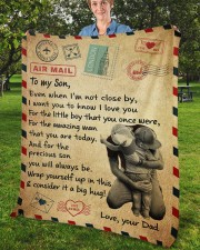"""Even When I'm Not Close By Dad To Son Fleece Blanket - 50"""" x 60"""" aos-coral-fleece-blanket-50x60-lifestyle-front-02b"""