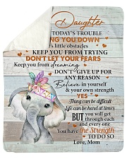 Don't Let Today's Trouble Elephant Mom To Daughter Sherpa Fleece Blanket tile