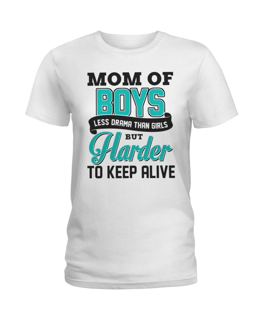 Mom Of Boys Less Drama Than Girls Ladies T-Shirt