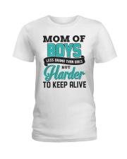 Mom Of Boys Less Drama Than Girls Ladies T-Shirt front