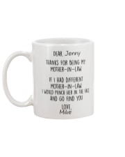 Personalized NameThanks For Being My Mother-In-Law Mug back