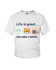 Life is great cats make it better Youth T-Shirt thumbnail
