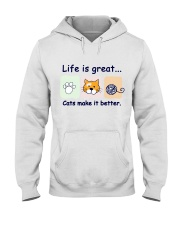 Life is great cats make it better Hooded Sweatshirt thumbnail