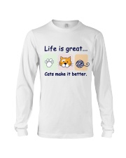 Life is great cats make it better Long Sleeve Tee thumbnail