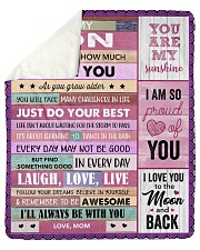 """Never Forget How Much I Love U Mom To Son Sherpa Fleece Blanket - 50"""" x 60"""" thumbnail"""
