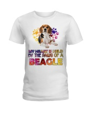 My Heart Is Held By The Paws Of A Beagle Ladies T-Shirt front