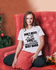 My Aunt Is Crazy And  She Will Punch You Ladies T-Shirt lifestyle-holiday-womenscrewneck-front-2