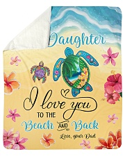 """I Love U To Beach And Back Turtle Dad To Daughter Sherpa Fleece Blanket - 50"""" x 60"""" thumbnail"""