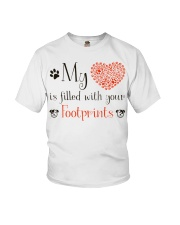 My heart is filled with your footprints Youth T-Shirt thumbnail