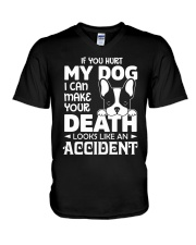 if you hurt my dog V-Neck T-Shirt thumbnail