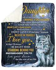 """Don't Let Today's Trouble Wolf Mom To Daughter Sherpa Fleece Blanket - 50"""" x 60"""" thumbnail"""