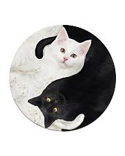 yin yang Cats Black and White Circle Coaster thumbnail