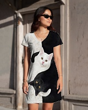 yin yang Cats Black and White All-over Dress aos-dress-front-lifestyle-1