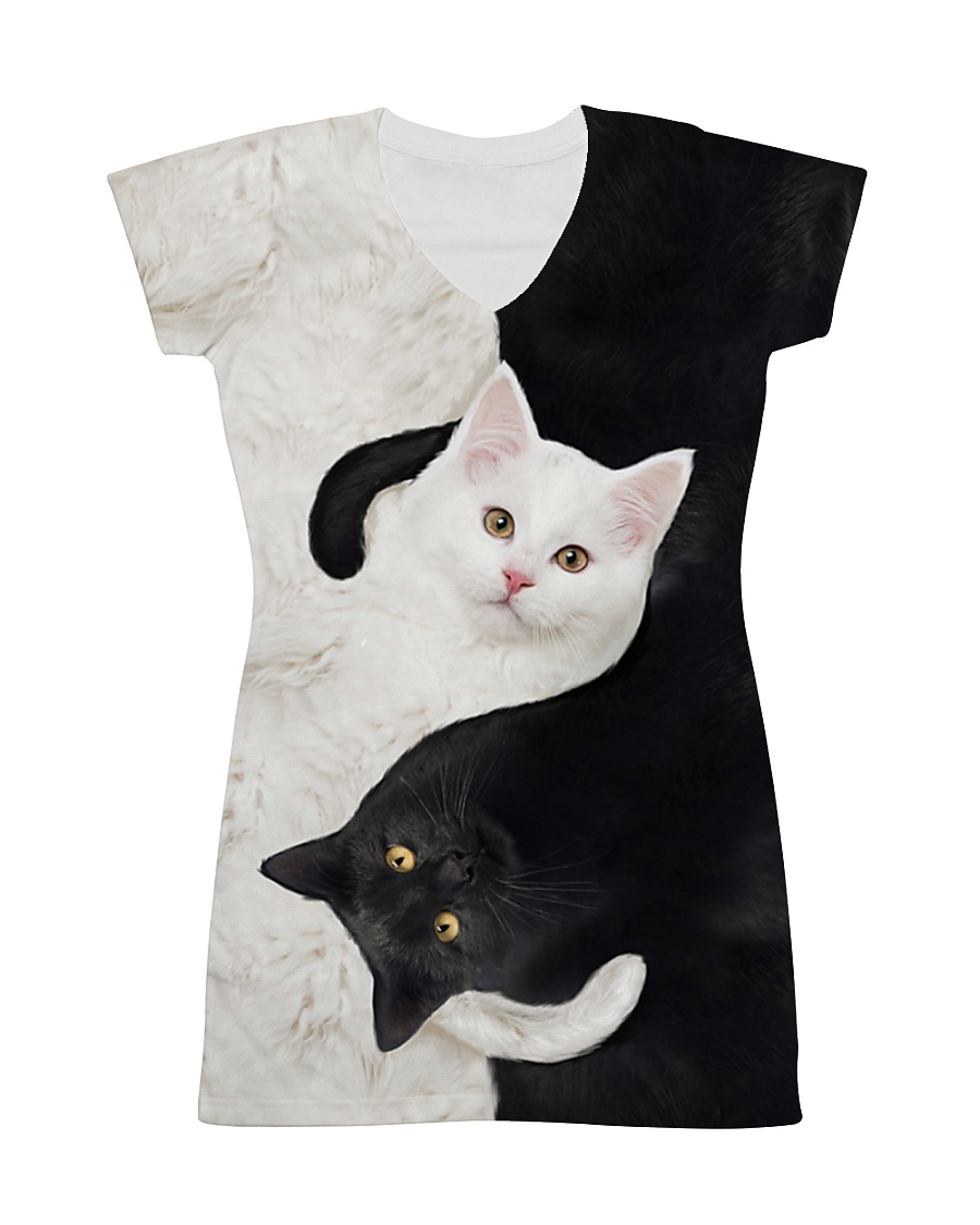 yin yang Cats Black and White All-over Dress