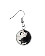 yin yang Cats Black and White Circle Earrings tile