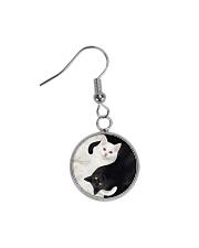 yin yang Cats Black and White Circle Earrings thumbnail