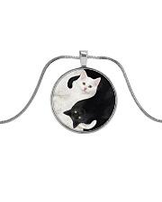 yin yang Cats Black and White Metallic Circle Necklace thumbnail