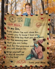"""Even When I'm Not Close By Mom To Son Fleece Blanket - 50"""" x 60"""" aos-coral-fleece-blanket-50x60-lifestyle-front-01b"""
