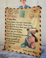"""Even When I'm Not Close By Mom To Son Fleece Blanket - 50"""" x 60"""" aos-coral-fleece-blanket-50x60-lifestyle-front-02"""