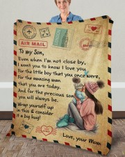 """Even When I'm Not Close By Mom To Son Fleece Blanket - 50"""" x 60"""" aos-coral-fleece-blanket-50x60-lifestyle-front-02a"""