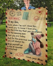 """Even When I'm Not Close By Mom To Son Fleece Blanket - 50"""" x 60"""" aos-coral-fleece-blanket-50x60-lifestyle-front-02b"""