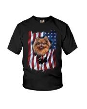 American Flag pomeranians Youth T-Shirt thumbnail