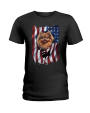 American Flag pomeranians Ladies T-Shirt thumbnail