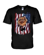 American Flag pomeranians V-Neck T-Shirt thumbnail